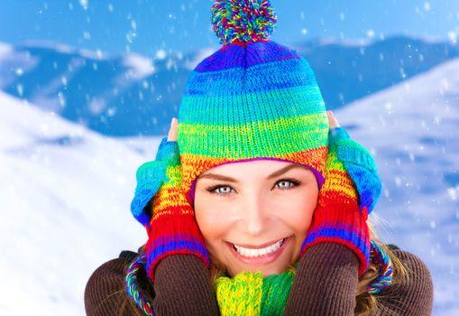 Woman on winter holidays