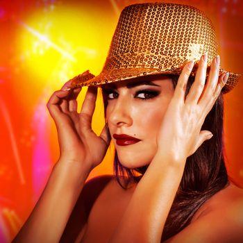 Woman in disco club