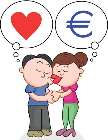 Cartoon man and woman kissing with love and money thoughts.