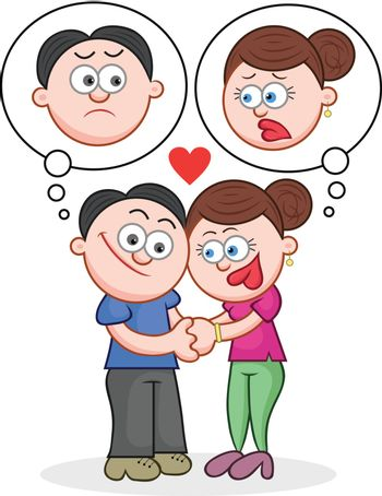 Cartoon man and woman holding hands with unhappy thoughts.