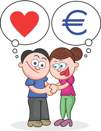Cartoon man and woman holding hands with love and money thoughts.