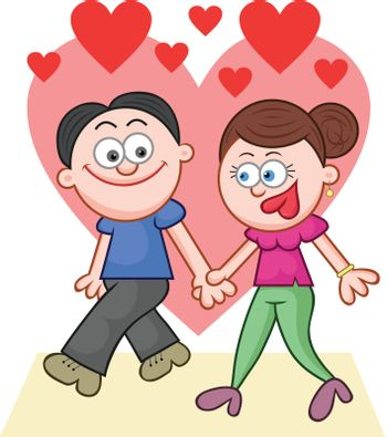 Cartoon couple holding hands and walking with love hearts.