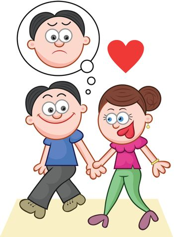 Cartoon couple holding hands and walking with love and unhappy thoughts.