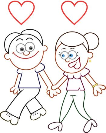 Cartoon couple holding hands and walking with two love hearts.