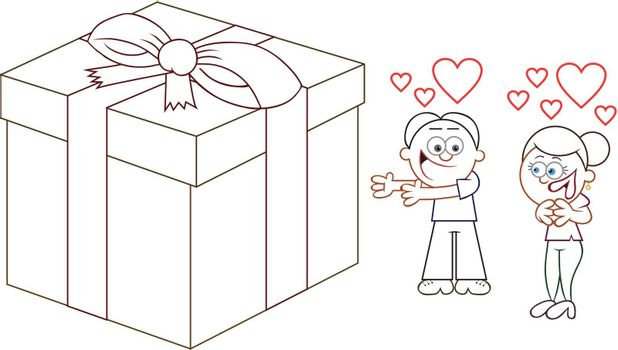 Cartoon man offering woman in love a big present.