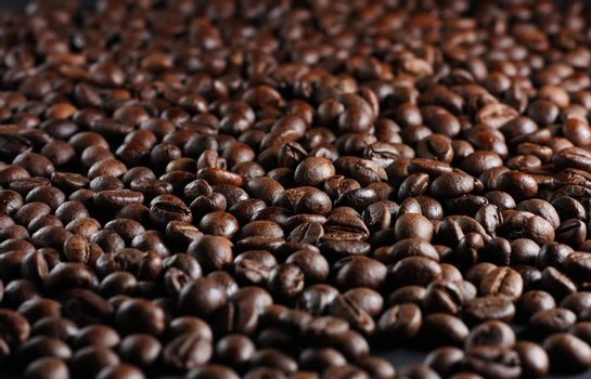 A lot of roasted brown coffee beans