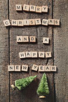 Letters spelling  Merry Christmas greetings