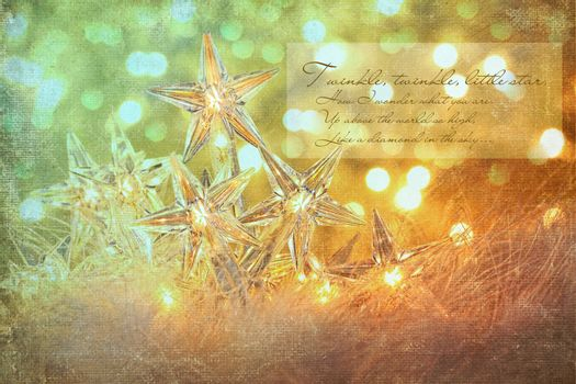 Star holiday lights with sparkle background