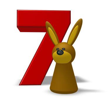 number seven and rabbit - 3d illustration