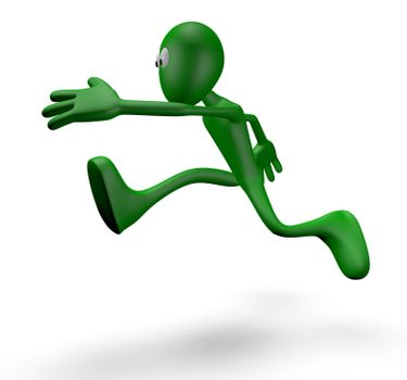 jumping cartoon guy - 3d illustration