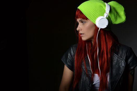 beautiful young woman with the headphones