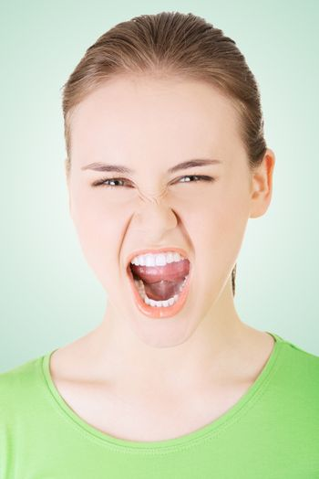 Youngwoman screaming with anger