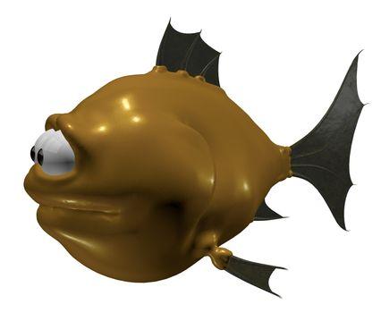 strange cartoon fish - 3d illustration