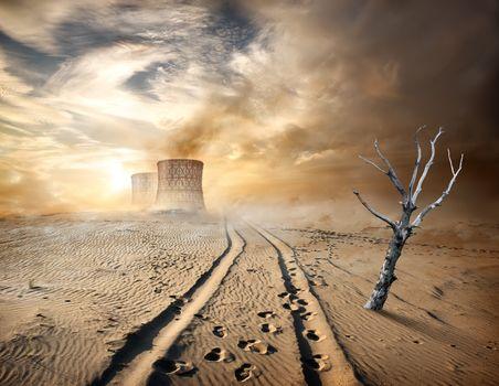 Industrial pipes in desert