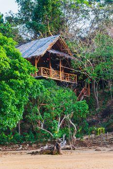 Hut in the jungle by the sea