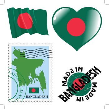 set of different symbols in national colours of Bangladesh