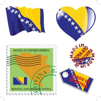 set of different symbols in national colours of Bosnia