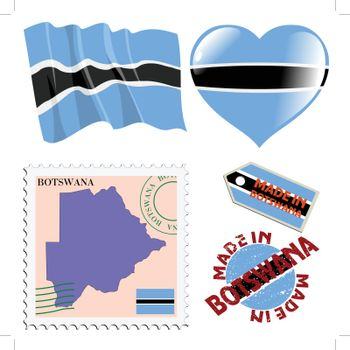 set of different symbols in national colours of Botswana