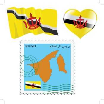 set of different symbols in national colours of Brunei