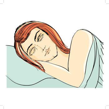 hand drawn, cartoon, sketch illustration of sleeping woman