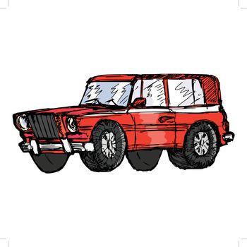 hand drawn, sketch, cartoon illustration of off-road car
