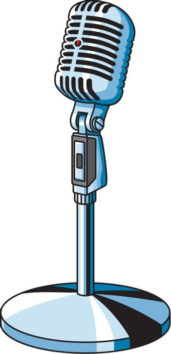 Vector illustration of old-fashioned microphone on a stand.