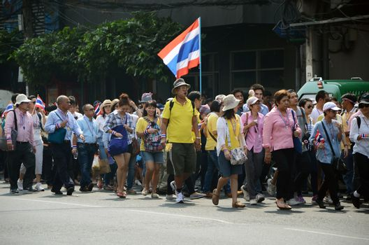 BANGKOK - DEC 9: Anti-government protesters march to Government House