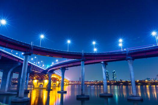 Freeway in Seoul at night