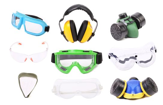 Collage of gas mask earmuffs and glasses.