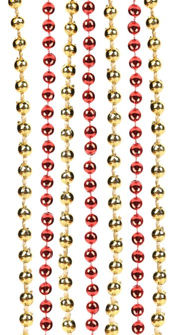 Strings of golden and red beads.