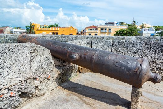 Old historic cannon in the old walled city of Cartagena, Colombia