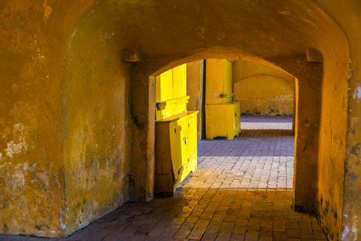 Interior of the clock tower gate, the main entrance to the old walled city of Cartagena, Colombia