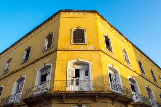 Old damaged colonial building in the old town of Cartagena, Colombia in need of some repairs