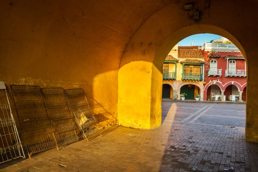 Entrance to old town of Cartagena, Colombia with a view of historic colonial architecture