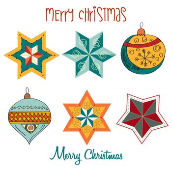 Collection of vintage Christmas decorative elements