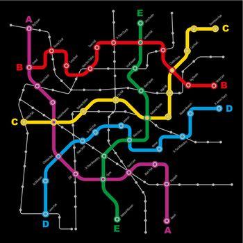 Fictitious City Public Transport Scheme on Black Background