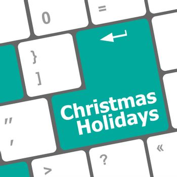 Computer keyboard key with christmas holidays words