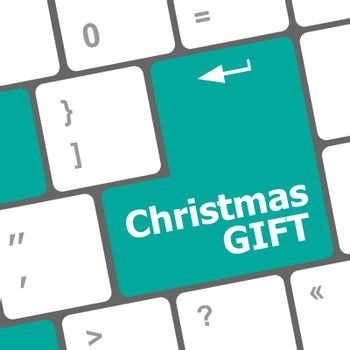 Computer keyboard key with christmas gift words