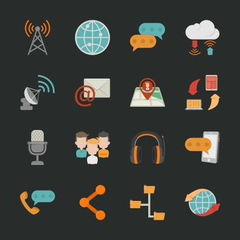 Communication icons with black background , eps10 vector format
