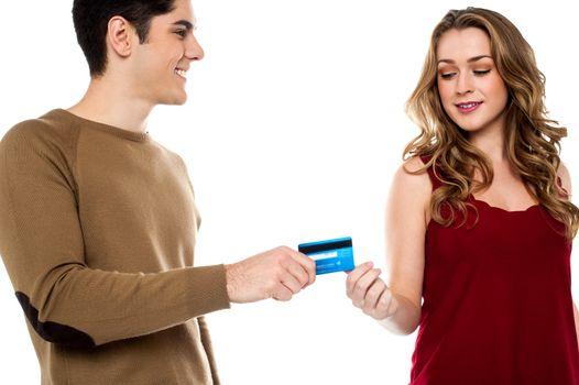 Boyfriend handing over credit card