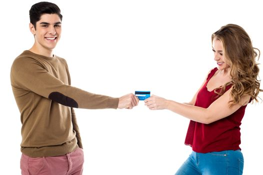 Girlfriend sweetly snatching debit card