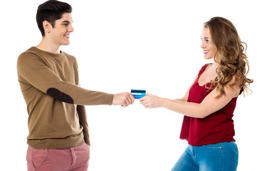 Girlfriend sweetly snatching credit card