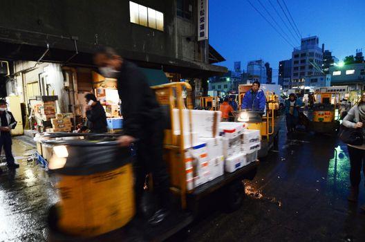 TOKYO - NOV 26: Shoppers visit Tsukiji Fish Market