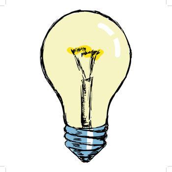 hand drawn, cartoon, sketch illustration of incandescent lamp