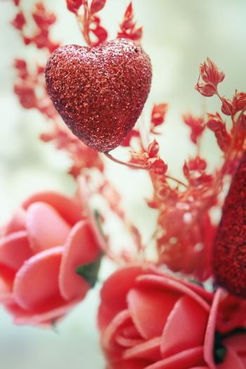 Close-up photo of the heart and flower decoration as a symbol of Saint Valentine day