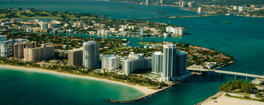 Aerial view of Miami seashore