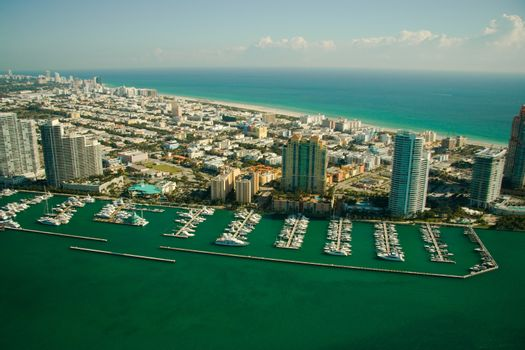 Aerial view of marina in Miami