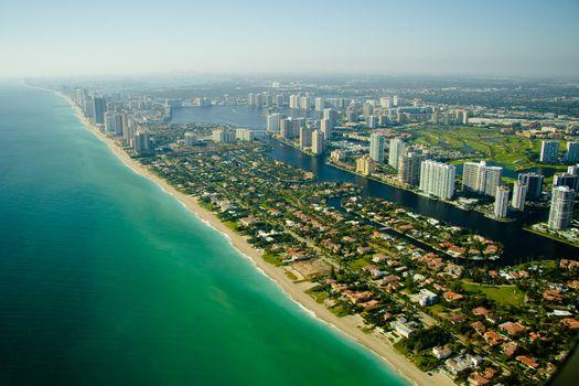 Aerial view of seashore in Miami