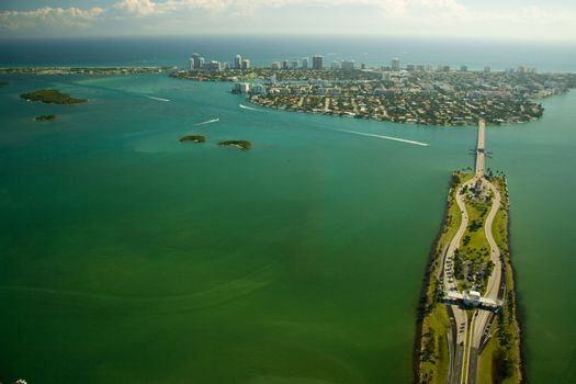 Aerial view over Miami