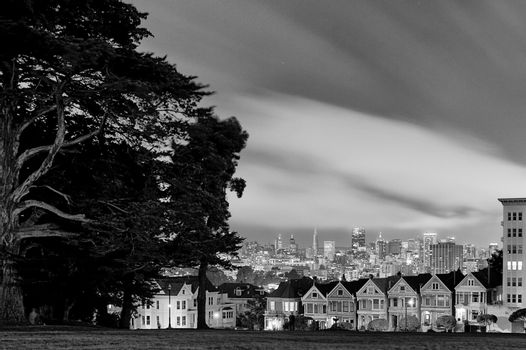 Alamo Square and San Francisco skyline